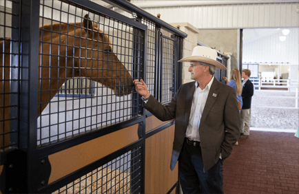 man petting horse inside a stall made out of recycled plastic lumber