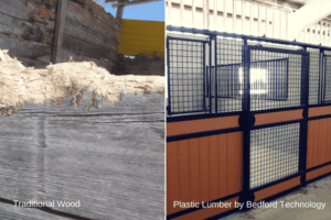traditional wood vs. plastic lumber - animal containment